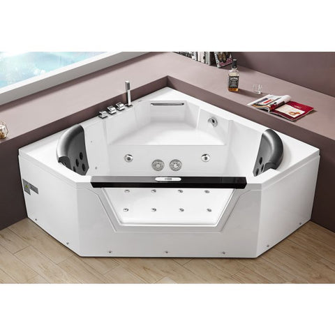 Image of EAGO AM156ETL 5 ft Clear Corner Acrylic Whirlpool Bathtub for Two - Jet Springs