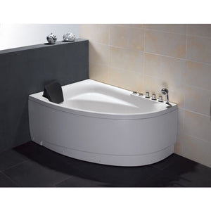 "EAGO AM161-R 59"" Single Person Corner White Acrylic Whirlpool BathTub - Jet Springs"