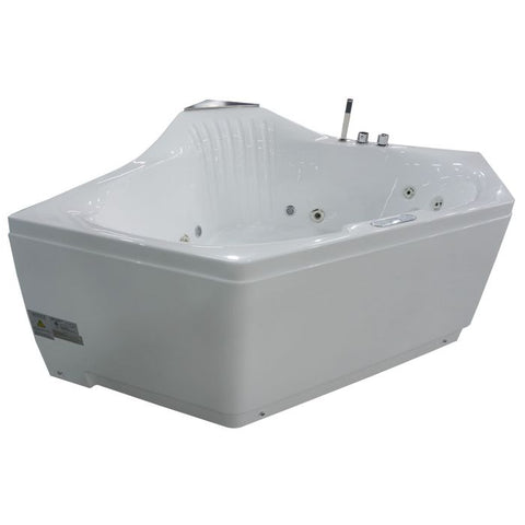 EAGO AM168ETL 5 ft Rounded Corner Acrylic Whirlpool Bathtub For Two - Jet Springs