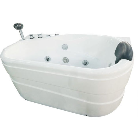 Image of EAGO AM175-L 57'' White Acrylic Corner Jetted Whirlpool Bathtub W/ Fixtures - Jet Springs