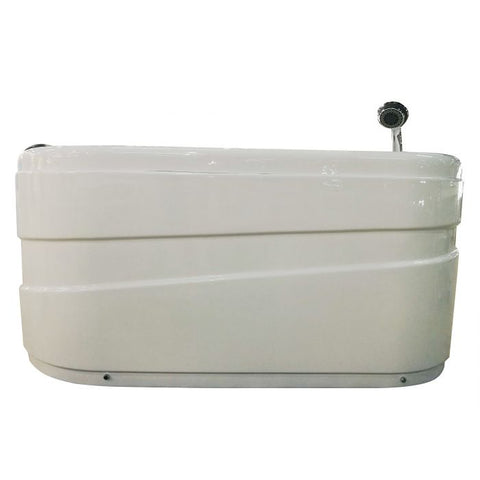Image of EAGO AM175-R 57'' White Acrylic Corner Jetted Whirlpool Bathtub W/ Fixtures - Jet Springs