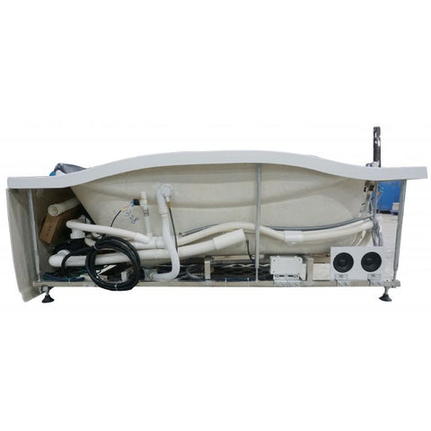 Image of EAGO AM189ETL-L 6 ft Left Drain Acrylic White Whirlpool Bathtub w Fixtures - Jet Springs