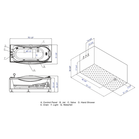 EAGO AM189ETL-L 6 ft Left Drain Acrylic White Whirlpool Bathtub w Fixtures - Jet Springs