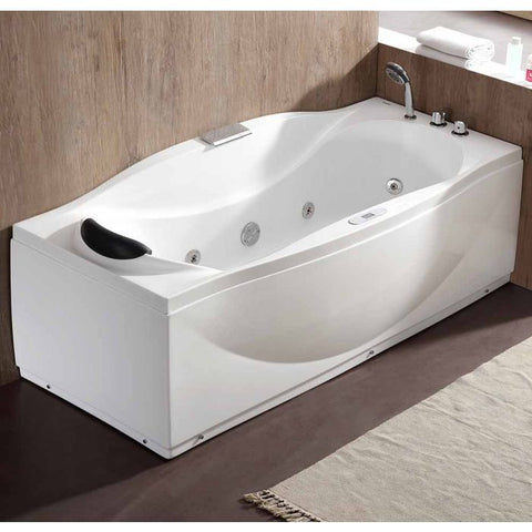 Image of EAGO AM189ETL-R 6 ft Right Drain Acrylic White Whirlpool Bathtub w Fixtures - Jet Springs