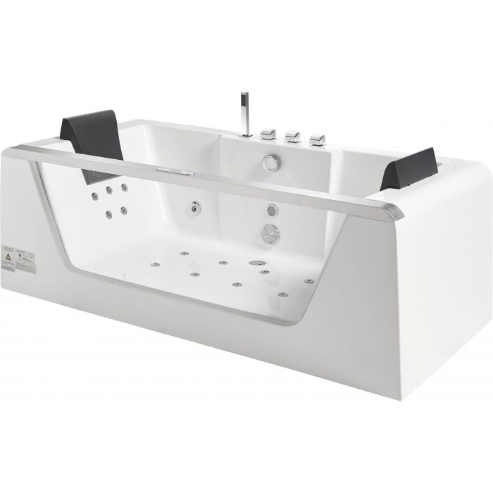 EAGO AM196ETL 6 ft Clear Rectangular Acrylic Whirlpool Bathtub for Two - Jet Springs
