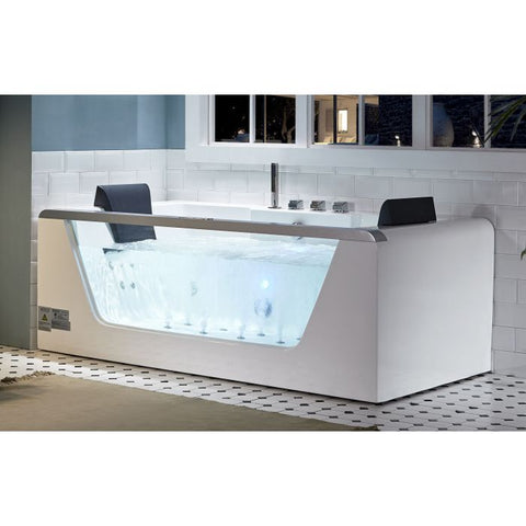 Image of EAGO AM196ETL 6 ft Clear Rectangular Acrylic Whirlpool Bathtub for Two - Jet Springs
