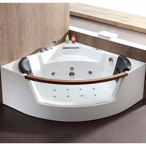 EAGO AM197ETL 5 ft Clear Rounded Corner Acrylic Whirlpool Bathtub for Two - Jet Springs