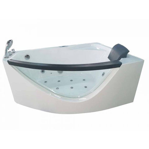 EAGO AM198ETL-L 5 ft Clear Rounded Left Corner Acrylic Whirlpool Bathtub - Jet Springs