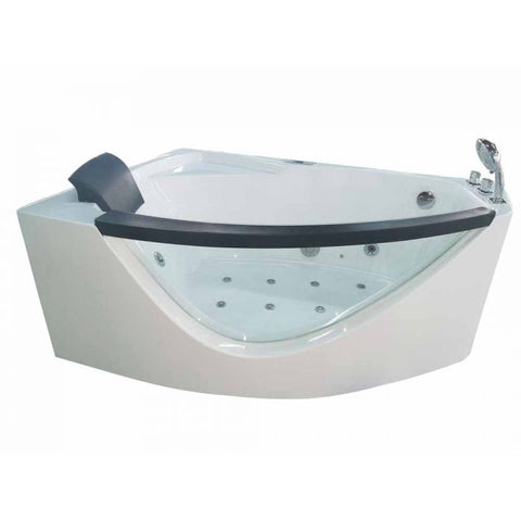 EAGO AM198ETL-R 5 ft Clear Rounded Right Corner Acrylic Whirlpool Bathtub - Jet Springs