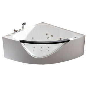 EAGO AM199ETL 5ft Clear Rounded Corner Acrylic Whirlpool Bathtub for Two - Jet Springs