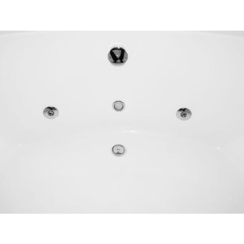 Image of EAGO AM200 5' Rounded Modern Double Seat Corner Whirlpool Bath Tub with Fixtures - Jet Springs