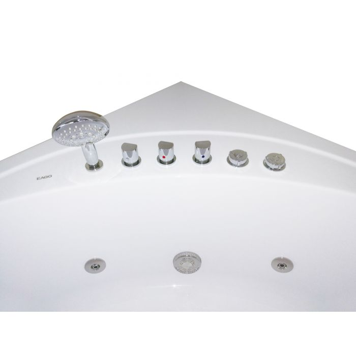 EAGO AM200 5' Rounded Modern Double Seat Corner Whirlpool Bath Tub with Fixtures - Jet Springs