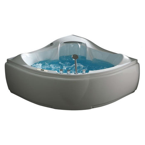 EAGO AM208ETL 5 ft Corner Acrylic White Waterfall Whirlpool Bathtub for Two - Jet Springs