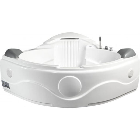 Image of EAGO AM505ETL 5 ft Corner Acrylic White Waterfall Whirlpool Bathtub for Two - Jet Springs