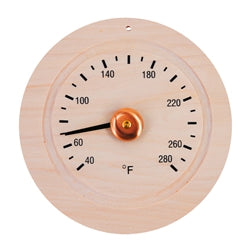 Round Pine Wood Sauna Thermometer Gage in Fahrenheit - Jet Springs