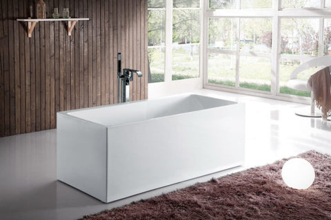Ella Bali Acrylic Freestanding Rectangular Infusion™ Microbubble Therapy Bathtub - Jet Springs