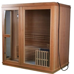 Image of ALEKO Canadian Hemlock Indoor Wet Dry Sauna - 4.5 kW ETL Certified Heater - 4 Person - Jet Springs