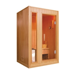 ALEKO Canadian Hemlock Indoor Wet Dry Sauna - 3 kW ETL Certified Heater - 2 Person - Jet Springs