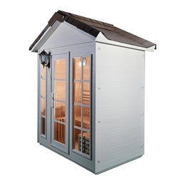 Image of Canadian Hemlock Outdoor Wet Dry Sauna - 4.5 kW ETL Certified Heater - Stone Finish - 4 Person - Jet Springs