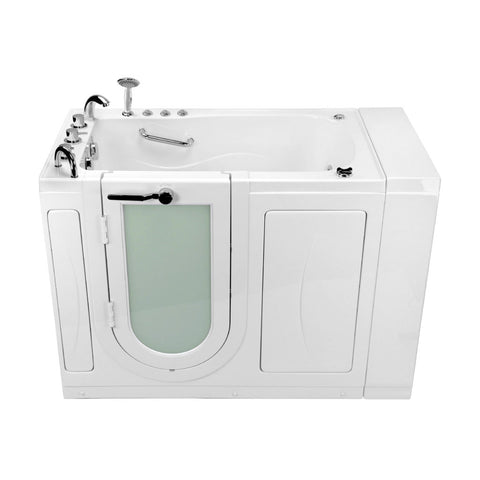 "Image of Ella Chi 52"" Acrylic Outward Swing One-Person Walk-In Bathtub in White With Therapy Type: Air + Micro And Faucet Type: Left Hand Door & Drain - Jet Springs"