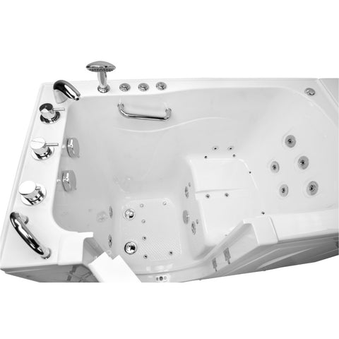"Ella Zen 52"" Acrylic Outward Swing One-Person Walk-In Bathtub in White: Soaking and Faucet type - Jet Springs"