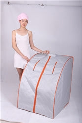ALEKO ETL Certified Portable Home Infrared Sauna with Folding Chair and Foot Pad - Silver with Orange Trim - Jet Springs