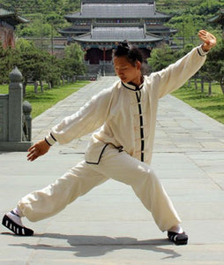 Extravagant Black Outerseam White Hemp and Linen Wudang Tai Chi Uniform with Cuffs