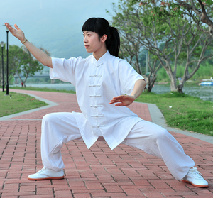 White Hemp and Linen Wudang Tai Chi Uniform with Short Sleeves for Men and Women