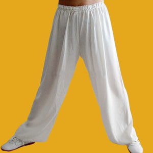 White Basic Hemp and Linen Tachi or Kung Fu Pants