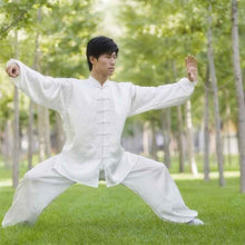 Load image into Gallery viewer, White Hemp and Linen Wudang Tai Chi Uniform with Cuffs for Men and Women