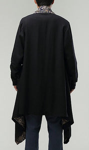 Black Chinese Men's National Wind Commoner Cloak Windbreaker