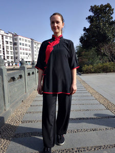 Black 100% Thick Silk Performance Kung Fu Suit for Women with Red Outerlines