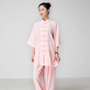 Light Pink Hemp and Linen Wudang Tai Chi Uniform with Short Sleeves for Women