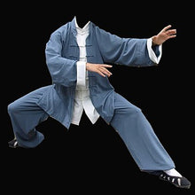 Load image into Gallery viewer, Blue Ip Man Style Wing Chung Kung Fu Suit with White Cuffs
