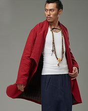 Load image into Gallery viewer, Red Designer Chinese Style Chinese Men's Winter Long Coat