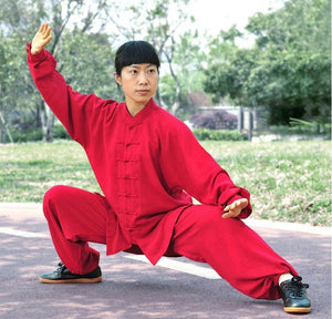 Red Hemp and Linen Wudang Tai Chi Uniform with Cuffs for Men and Women