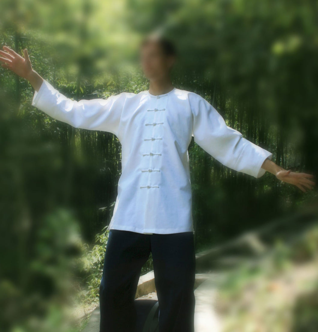 White Durable Tai Chi Shirt with 3/4 Sleeves and Round Collar