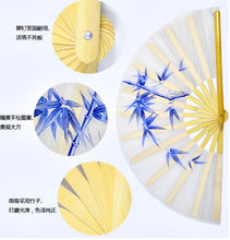 Load image into Gallery viewer, Hand-Painted Tai Chi Fan Bamboo Leaves