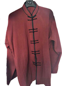 Kung Fu Movie Inspired Hemp and Linen Tai Chi Shirt for Men and Women Maroon with Black Outerseam