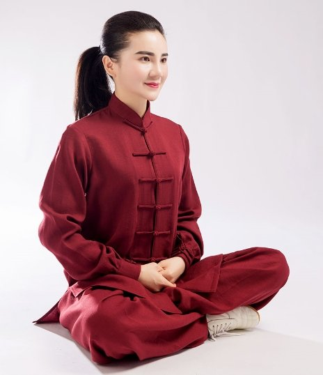 Burgundy Hemp and Linen Wudang Tai Chi Uniform with Cuffs for Men Women