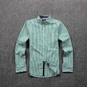 Striped Business Shirt White & Green
