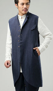 Blue Commoner Chinese Style Men's Long Vest Jacket