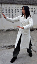 Load image into Gallery viewer, White Natural Cotton Wudang Long Winter Coat with Straight Frog Buttons for Men and Women