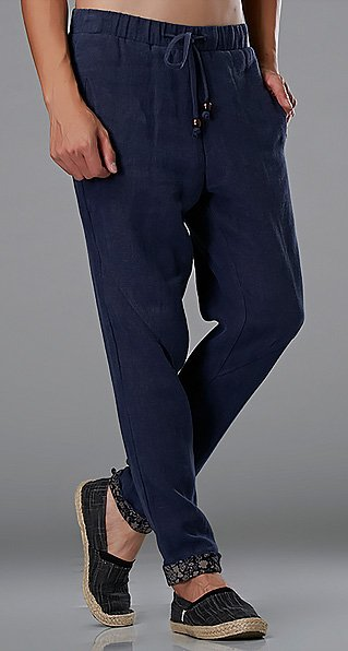 Blue Commoner Wind Cuffs Low-Crotch Carrot Pants