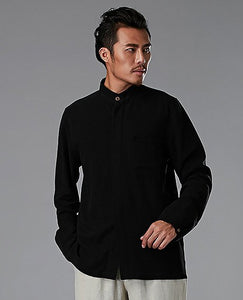 Black Commoner Chinese Style Men's Shirt Casual Long-Sleeved