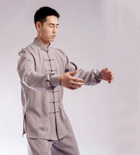 Load image into Gallery viewer, Off White Hemp and Linen Wudang Tai Chi Uniform with Cuffs for Men and Women