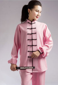 Black Outerseam Light Pink Hemp and Linen Wudang Tai Chi Clothing with Cuffs