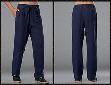 Load image into Gallery viewer, Improved Blue Commoner Chinese Tai Chi Kung Fu Pants
