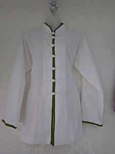 White Hemp and Linen Wudang Tai Chi Shirt with Open Sleeves and Green Outerlines for Men and Women