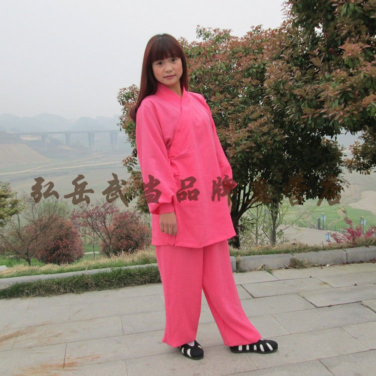 Candy Pink Silk and Linen Wudang Tai Chi Uniform with Cuffs for Men and Women